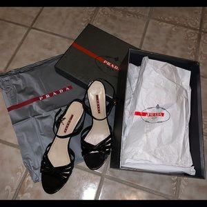 Prada Patent Leather wedge sandals